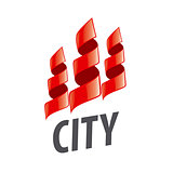 vector logo home in the form of red ribbons