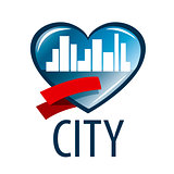 vector logo in the heart of the white city