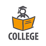 vector logo man with a book for college