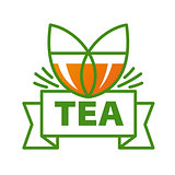 vector logo mug of tea and a ribbon