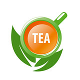 vector logo mug tea and green leaves