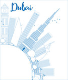Outline Dubai City skyline with blue skyscrapers and copy space