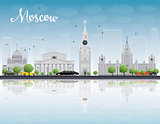 Moscow skyline with grey landmarks and blue sky