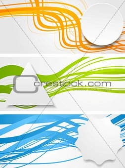Abstract wavy banners with geometric labels