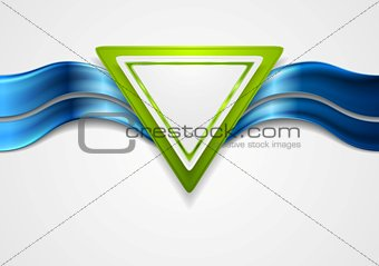 Abstract tech background with triangle and waves