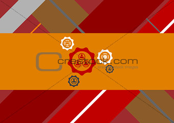 Flat geometric tech background with gears