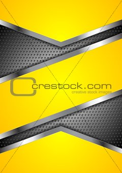 Abstract yellow perforated background with metallic design