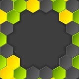 Abstract hi-tech vector dark background with hexagons