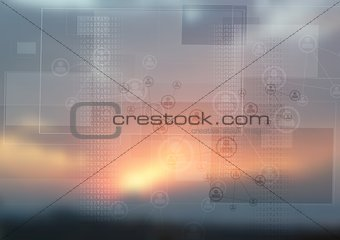 Abstract tech design on magic sunset backdrop