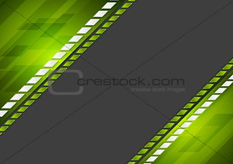 Abstract tech corporate green black background