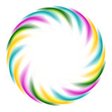 Colorful iridescent round logo on white background