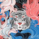 graphic ornamental portrait of tiger
