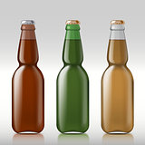 Glass beer bottle.