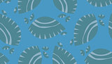 Seamless Blue Seashells Background