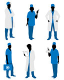 Six doctors silhouettes
