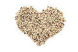 Black eyed peas in a heart shape