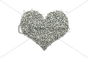 Cambrian green small stones in a heart shape