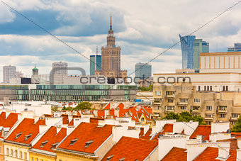 Aerial view of skyscrapers and Warsaw Old town.