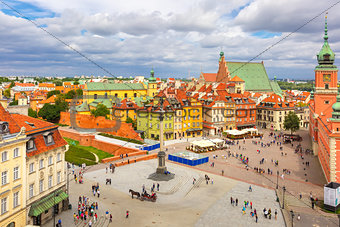 Aerial view of Castle Square in Warsaw, Poland.