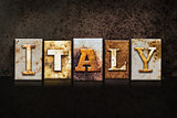 Italy Letterpress Concept on Dark Background