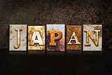 Japan Letterpress Concept on Dark Background