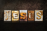 Jesus Letterpress Concept on Dark Background