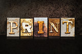 Print Letterpress Concept on Dark Background