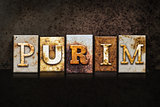 Purim Letterpress Concept on Dark Background