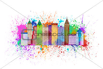 Atlanta Skyline Paint Splatter Color Illustration