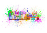 Sydney Australia Skyline Splatter Color Illustration