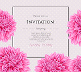 Wedding invitation with beautiful aster flower