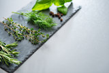 Fresh herbs on a slate