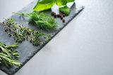 Fresh herbs on a slate