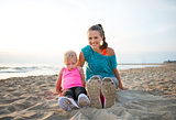 Fit, happy young mother and daughter in workout gear on beach