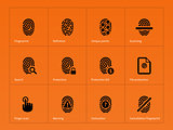 Security finger print icons on orange background.