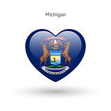 Love Michigan state symbol. Heart flag icon.