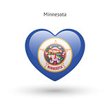 Love Minnesota state symbol. Heart flag icon.
