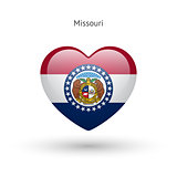 Love Missouri state symbol. Heart flag icon.