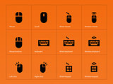 Mouse and keyboard icons on orange background.