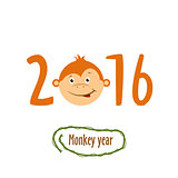 Flat funny brown monkey on a white background. Vector.