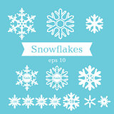 Set of white flat snowflakes on a blue background. Vector.