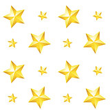 Seamless pattern with a gold star on a white background. Vector.