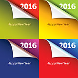 Colored stickers with bent corners. Happy New Year. Vector.