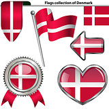 Glossy icons with flag of Denmark