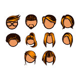 Hairstyle icon set