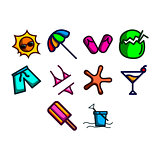 Summer season icon set