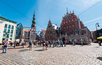 Riga, Latvia- August 20, 2015: Day view of the Town Hall Square