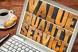 value, quality, service typography