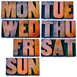 days of week in letterpress wood type