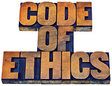 code of ethics word abstract in wood type